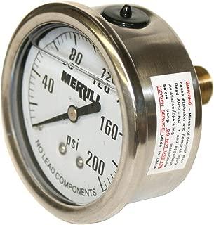 Merrill MFG PGLBNL25200 0-200 PSI 无铅液体填充不锈钢表壳后置压力表,黄铜/不锈钢