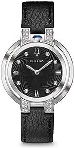 Bulova 女式模拟经典石英手表皮革表带 96R217