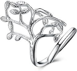 家族生命树结婚戒指 订婚戒指 925 纯银镀金女士母亲礼品