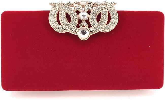 女式天鹅绒手拿包 皇冠钱包 婚礼 派对手包 手拿包 晚宴包 红色