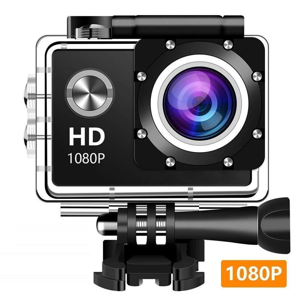 アクションカメラ、12MP 1080P 2 Yingcun LCDスクリーン、カム140度の広角レンズの防水運動、30MスポーツカメラDVカムコーダ10アクセサリキット