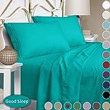 Mejoroom 双人床床单套装 - 柔软超细纤维床单,深袋床笠,低致敏性,抗皱,透气,防褪色 - 3 件套(双人床,白色) 蓝* Queen