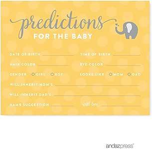 andaz Press 黄灰色性别中性大象婴儿沐浴系列 Cards Predictions