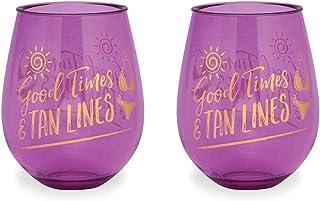 Good Times Tan Lines 紫色亚克力无柄酒杯,2件套,15盎司