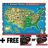 木质美国地图声音拼图(40 片)+ 免费的 Melissa & Doug Scratch Art Mini-Pad 套装 [07153]