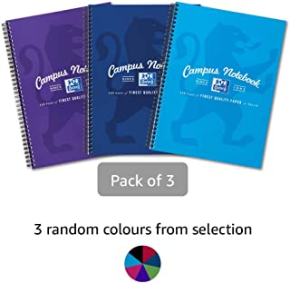 Oxford Campus Wirebound Notebook, A4 Size - Assorted Colour, Pack of 3