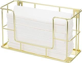 MyGift 现代黄铜色金属线商业壁挂式或桌面纸折叠毛巾架分配架