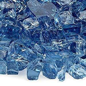 American Fireglass 10-Pound Fire Glass with Fireplace Glass and Fire Pit Glass, 1/4-Inch, Pacific Blue