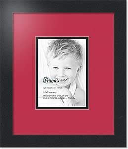 Art to Frames 双-多衬垫-633-762/89-FRBW26079 拼贴照片相框 双衬垫带 1 个 - 12.7 x 17.78cm 开口和缎面黑边框