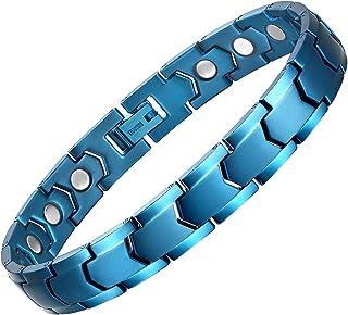 ABUZITOS 纯钛磁性*手链男士**缓解腕管 8.6 英寸(约 21.4 厘米)可调节礼品盒