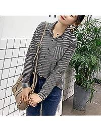 女生纯棉条纹衬衫 拼接方领长袖衬衣修身显瘦 蝴蝶印花图案上衣(多款选择)