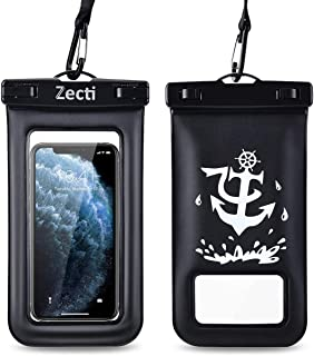 Zecti 通用防水手机壳,防水手机袋适用于 iPhone 11 Pro Max XS Max XR X 8 7 6S Plus 三星 Galaxy s10/s9 Google Pixel 2 HTC 高达 7.0 英寸,IPX8 手机干燥袋 - 2 件装