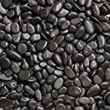 Midwest Hearth 自然装饰抛光黑色卵石纹 0.95 cm 砂砾尺寸 10-lb Bag 黑色