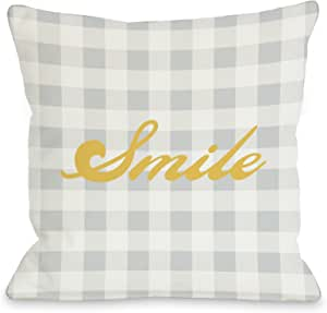 OBC 的 Bentin Home Decor Smile Gingham 抱枕 20x20 Pillow 10807PL20