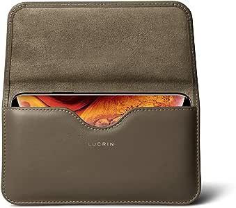 lucrin–皮套皮带保护套带环适用于 iPhone 8PLUS / 7Plus/SAMSUNG GALAXY S8/ SAMSUNG GALAXY S8+ / SAMSUNG GALAXY NOTE 8–光滑皮革 深灰褐色