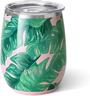 Swig Life 不锈钢签名 396.89 克不锈钢酒杯带防溅滑块盖和可重复使用的吸管 棕榈泉 S102-C14-PS