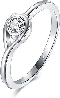 BORUO 925 纯银戒指,方晶锆石永恒婚戒 2mm 尺寸 4-12