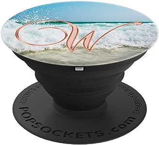W Pink Beach Ocean Sand Waves Monogram 字母名称 - PopSockets 手机和平板电脑抓握支架260027  黑色