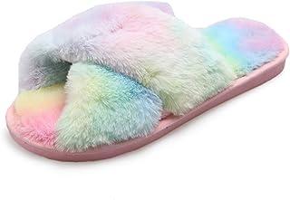 Anlydia 女士豹纹人造毛皮拖鞋保暖软拖拖鞋露趾户外室内鞋