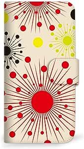 MITAS 智能手机保护壳翻盖型太阳图案  米黄色 31_URBANO V01 (KYV31)