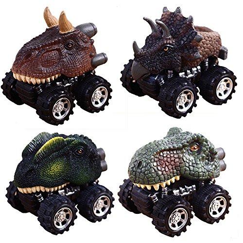 PAWACAプルバック恐竜車、3〜14歳の男の子と女の子に最適な恐竜車のおもちゃ、子供向けギフト4パック