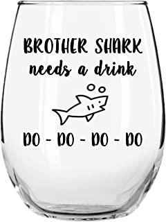 Momstir 趣味酒杯 Needs a Drink Do Do Novelty Libbey Stemless 酒杯格言 Momstir 出品 Brother Shark 15oz