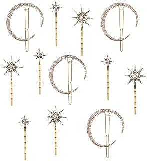 CEREALY 12 件星月亮发夹复古水钻发夹金属合金月亮发夹适合女士女孩发饰