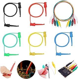 DAOKI 15PCS 测试钩夹双硅胶探头测试铅5色适用于IC,PIN,芯片+双头鳄鱼夹电缆