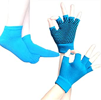 瑜伽袜 & yoga 手套套装–2双装防滑 skid 短袜 & 手套和女孩