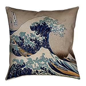 "ArtVerse Katsushika Hokusai the Great Wave x 14 英寸普拉底棉斜纹双面印花,仅带隐藏拉链套 14"" x 14"" HOK004P1414K"