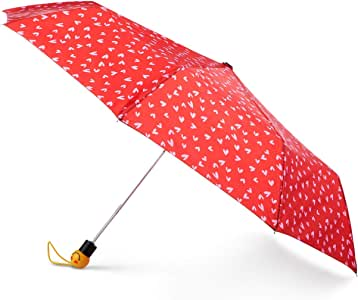 Totes 自动打开雨伞,带表情符号脸手柄,NeverWet 隐形涂层,106.68 cm 伞,红色甜心图案