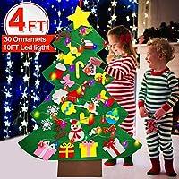iGeeKid 4 英尺 LED 毛毡圣诞树幼儿 DIY 圣诞树雪人带 30 个装饰品 10 英尺细绳 圣诞节壁挂装饰 DIY 圣诞新年礼物男孩女孩派对用品