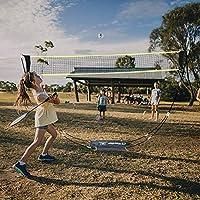 VERONNI 便携式羽毛球网带支架携带袋折叠排球网球羽毛球网适合室内户外运动,无需工具或桩子
