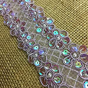 2 码,亮片和有线闪光饰边,2 排,卓越品质,5.08 厘米 紫色(Lavender) B0682D2_LV000