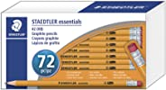 Staedtler Essentials 预削 HB #2 黄色木石墨铅笔,含无乳胶粉橡皮擦,72,13251C72A6