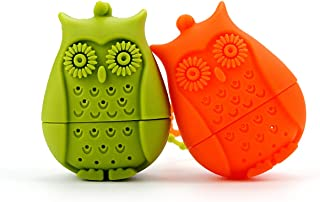 2pcs Silicone Mini Owl Tea Bag,Ezeso Reusable Tea Filter Infuser Strainer for Coffee Herb Punch (Orange + Green)