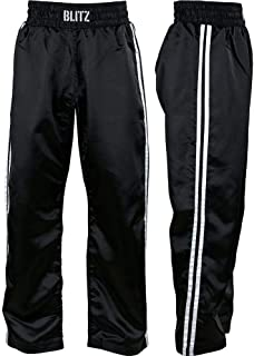blitz SPORT 成人经典缎面全接触长裤–黑色 / 粉色3/ 160cm