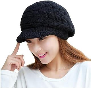 ELINKA 女式冬季保暖针织帽羊毛雪地无檐小便帽 Ski 贝雷帽 带遮阳帽