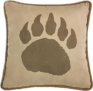 "HiEnd Accents 仿麂皮绒熊爪枕,背面采用人造皮革设计 棕色 18 x 18"" PL4107"