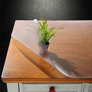 NECAUX 桌垫 1.5 毫米厚水晶透明防水 PVC 柔软矩形桌面保护盖 Forsted 1.5mm Thick 10x24 Inches 2 set NECAUX 10x24 Inches-2 Set-Frost 1.5