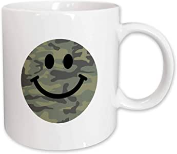 3dRose Green Camo Pattern Smiley Face on White, Army Print Smilie, Camouflage, Ceramic Mug, 11-Oz
