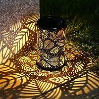 TAKE ME 户外太阳能灯,花园吊灯金属叶子图案灯,适用于露台、室外或桌子(树叶)。