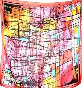 丝绸沙龙全新 * 雅克卡尔丝绸围巾披巾 披巾 粉色 A281
