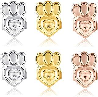 耳环背部耳环提升器 - 3 对可调节低*性耳环提升器适用于女性耳垂支撑贴(18k 镀金,镀银,玫瑰金镀金皇冠风格)