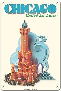 芝加哥伊利诺伊水塔联合航空公司旅行海报 c.1973 年艺术印刷品 多种颜色 8 x 12 in Tin Sign MTSA9447