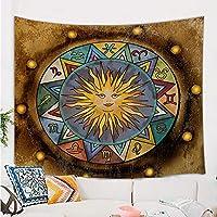 占星术挂毯,复古轮子十二生肖与太阳月亮在摇滚旧背景墙上挂毯,迷幻中世纪塔罗墙挂毯卧室客厅大学宿舍房间71X60IN