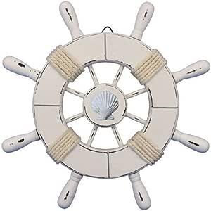 手工制作航海装饰质朴浅蓝色和白色装饰船轮带锚 45.72 厘米 - 木质船轮 - 船舶转向 Rustic White 9英寸 Wheel-9-102-seashell