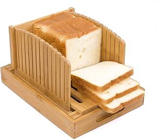 Toughard Bamboo 小巧可折叠面包切片器切割指南,带碎屑收集器托盘,用于自制面包、面包蛋糕和百吉饼,可调节烤面包片夹层机(新版)