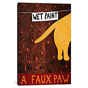 iCanvasART STH2-1PC3-26x18 A Faux Paw Yellow Canvas Print by Stephen Huneck, 26 x 18 x 0.75-Inch