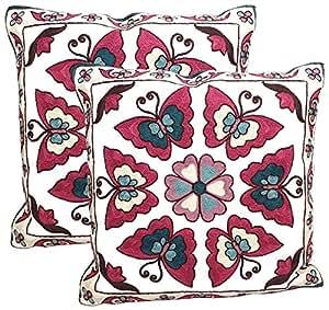 BDJ * 纯棉民间艺术刺绣抱枕套 靠垫套 45.72 x 45.72 厘米 2 件套 蝴蝶 18 W x 18 L
